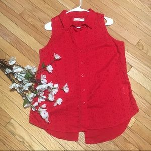 NWOT eyelet embroidered red blouse